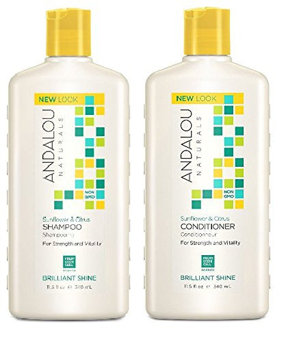 Andalou Naturals Sunflower & Citrus Brilliant Shine Shampoo and Conditioner Bundle, 11.5 fl. oz. each