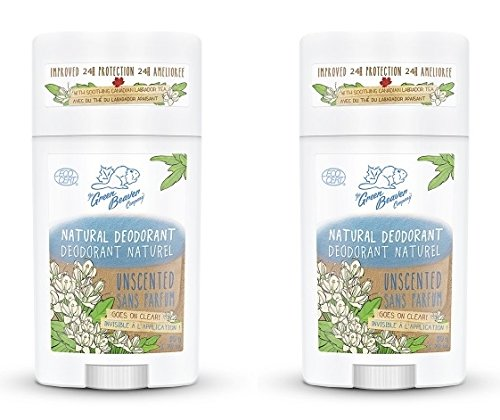 Green Beaver Unscented Natural Deodorant Stick (Pack of 2) with Organic Aloe Vera Juice, Sage Oil, Labrador Tea and Chamomile Flower Water, Aluminum-free, Gluten-free and Paraben-free, 1.76 oz