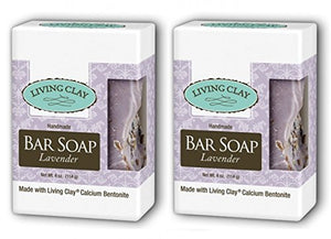 Living Clay Lavender Bar Soap (Pack of 2) with Natural Calcium Bentonite Clay, Sea Salt, Herbs, Olive Oil, Palm Oil, Coconut Oil and other Essential Oils, 4 oz