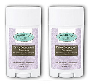 Living Clay Lavender Detox Deodorant (Pack of 2) with Natural Calcium Bentonite Clay, Cocoa Butter, Coconut Oil, Arrowroot Powder, Candellia Wax, Calendula-infused Olive Oil and Sage Oil, 4 oz