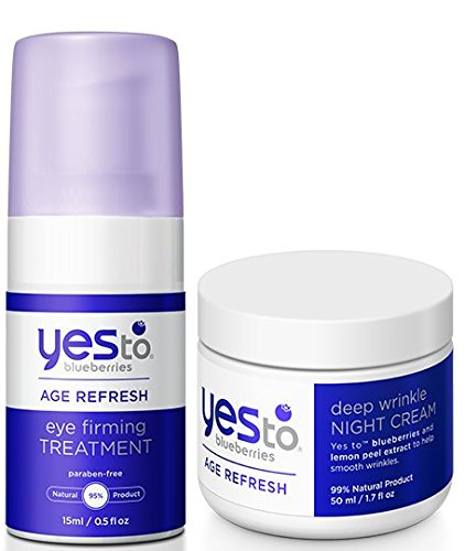 Yes to Blueberries Eye Firming Treatment and Deep Wrinkle Night Cream Bundle with Soybean Oil, Coconut, Apple Fruit Extract and Rosemary Leaf, 0.5 fl. oz. and 1.7 fl. oz. each
