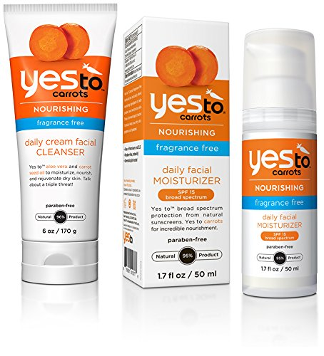 Yes to Carrots Fragrance Free Daily Cream Facial Cleanser and Fragrance Free Daily Facial Moisturizer with SPF 15 Bundle with Carrot Seed Oil and Pumpkin Fruit Extract, 6 oz. and 1.7 fl. oz.