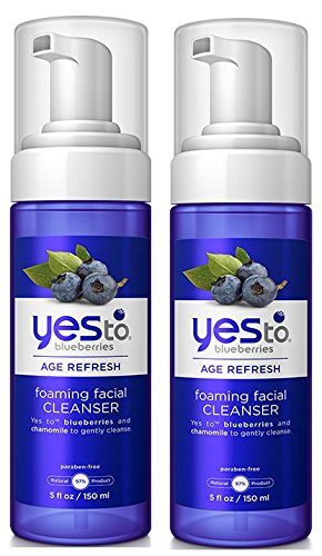 Yes to Blueberries Foaming Age Refresh Facial Cleanser (Pack of 2) with Matricaria Flower Extract, Coco-Glucoside and Potassium Sorbate, 5 fl. oz.