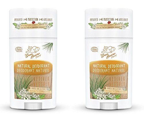 Green Beaver Vetiver Natural Deodorant Stick (Pack of 2) with Organic Aloe Vera Juice, Sage Oil, Labrador Tea and Chamomile Flower Water, Aluminum-free, Gluten-free and Paraben-free, 1.76 oz