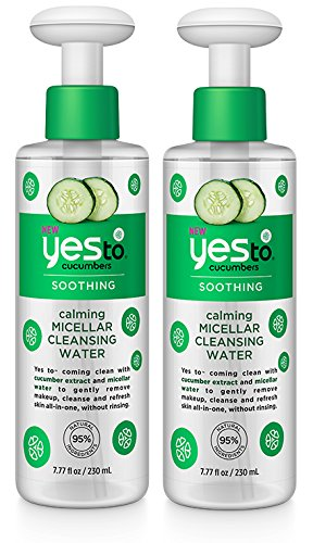 Yes to Cucumbers Calming Micellar Cleansing Water (Pack of 2) with Aloe Leaf Juice, Cucumber Fruit Extract, and Witch Hazel, 7.77 fl. oz.