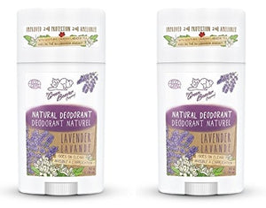 Green Beaver Lavender Natural Deodorant Stick (Pack of 2) with Organic Aloe Vera Juice, Sage Oil, Labrador Tea and Chamomile Flower Water, Aluminum-free, Gluten-free and Paraben-free, 1.76 oz