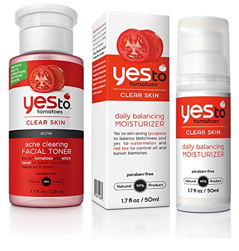 Yes to Tomatoes Acne Clearing Toner and Daily Balancing Moisturizer Bundle with Witch Hazel, Aloe Leaf Juice, and Watermelon Fruit Extract, 7.7 fl. oz. and 1.7 fl. oz. each