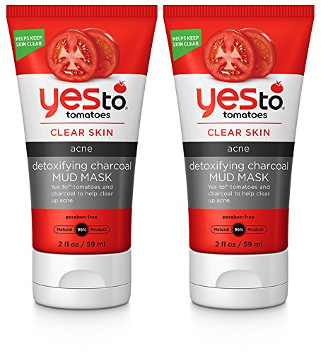 Yes to Tomatoes Detoxifying Charcoal Mud Mask (Pack of 2) with Aloe Leaf Juice, CHarcoal Powder, and Lential Seed Extract, 2 fl. oz.