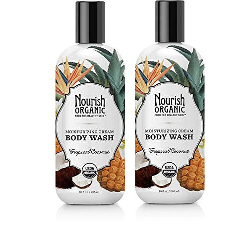 Nourish Organic Tropical Coconut Moisturizing Cream Body Wash, 10 fl. oz. (Pack of 2)