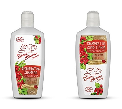 Green Beaver Cranberry Regenerating Shampoo and Cranberry Regenerating Conditioner with Certified Organic Aloe Vera Juice, Cranberry Seed Oil, Palmarosa Oil and Sunflower Seed Oil, 10.1 oz each