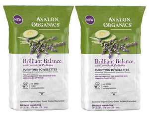 Avalon Organics Brilliant Balance Purifying Towelettes, 30 ct. (Pack of 2)