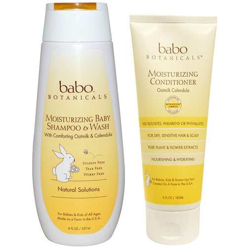 Babo Botanicals Oat Milk & Calendula Moisturizing Shampoo & Wash and Conditioner Bundle, 8 fl. oz and 6 fl. oz.