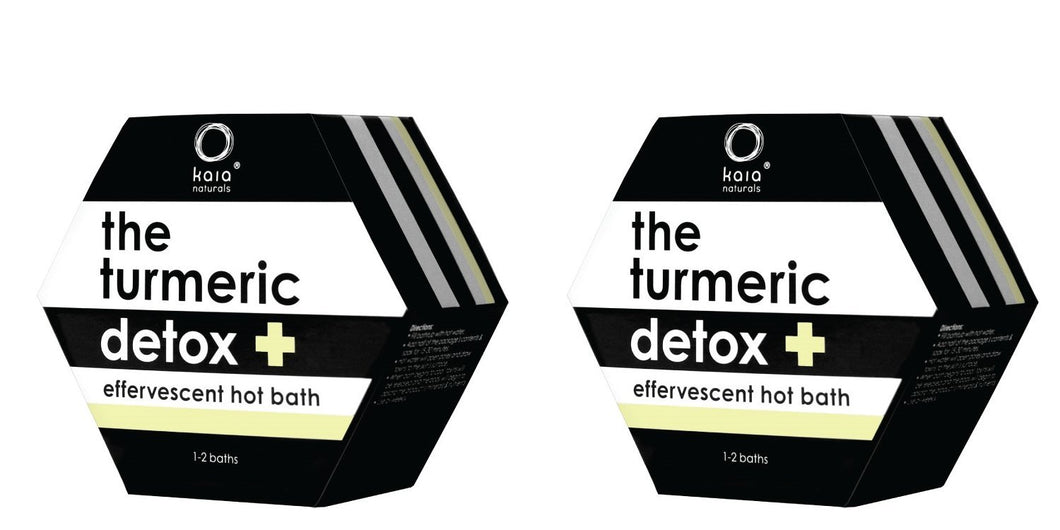 Kaia Naturals Turmeric Detox Hot Bath (Pack of 2) with Curcuma Longa, Mustard Seed Powder, Lemon Peel Oil, Sodium Bicarbonate, Apple Vinegar, Camphor and Peppermint Oil, 1~2 baths per unit