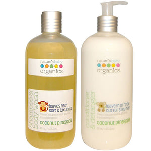 Nature's Baby Coconut Pineapple Baby Shampoo & Body Wash and Conditioner & Detangler Bundle, 16 fl. oz. each