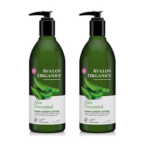 Avalon Organics Unscented Aloe Hand and Body Lotion, 12 fl. oz. (Pack of 2)