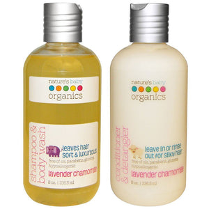 Nature's Baby Lavender Chamomile Baby Shampoo & Body Wash and Conditioner Bundle, 8 fl. oz. each
