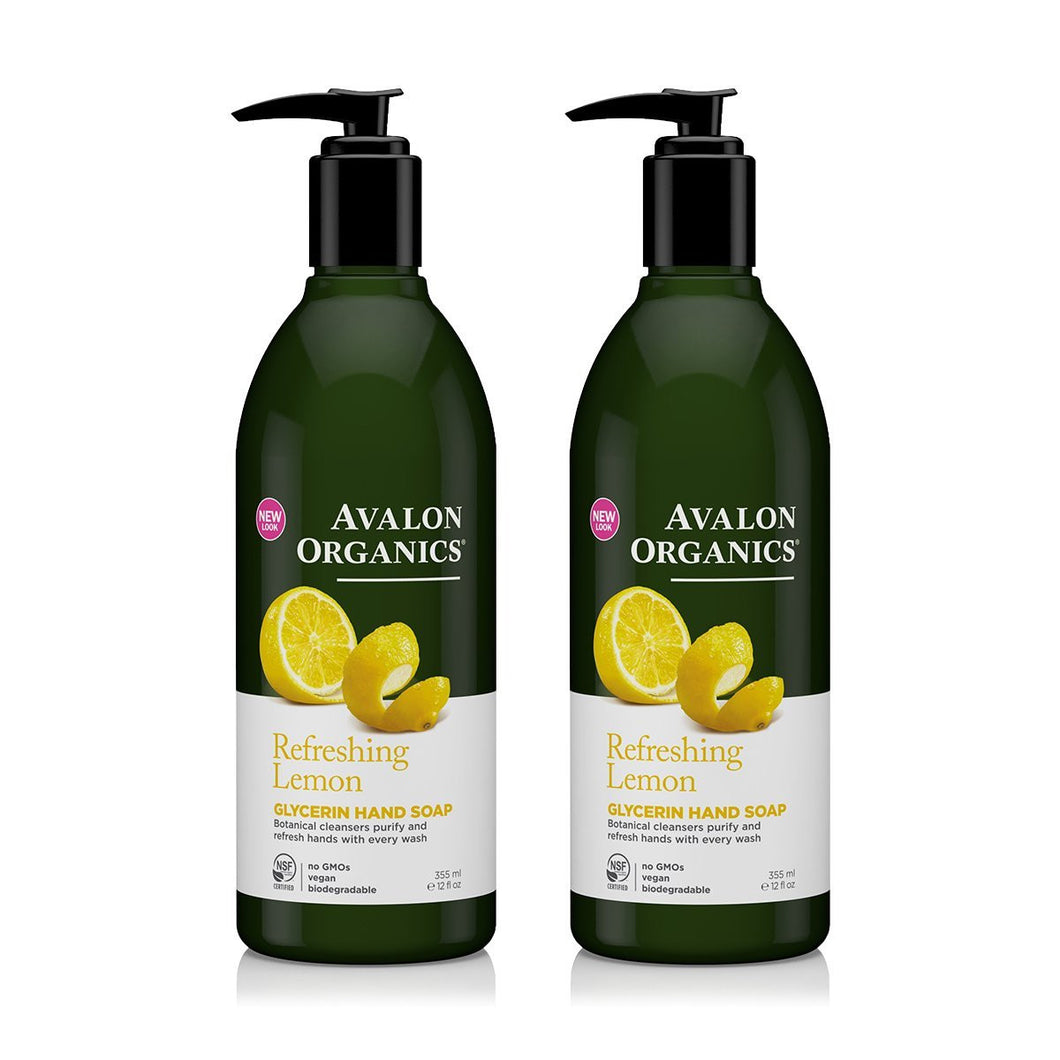 Avalon Organics Refreshing Lemon Glycerin Hand Soap, 12 fl. oz. (Pack of 2)