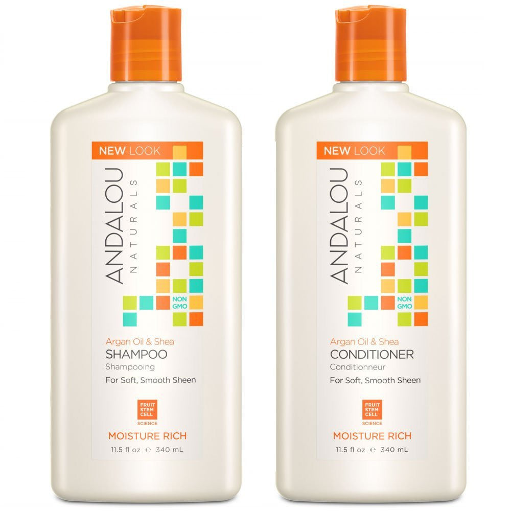 Andalou Naturals Argan Oil & Shea Moisture Rich Shampoo and Conditioner Bundle, 11.5 fl. oz. each