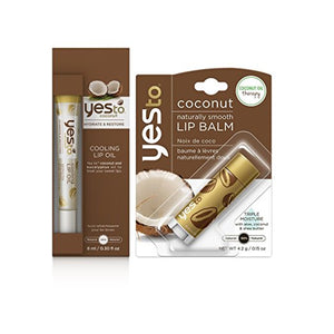 Yes to Coconut Lip Oil & Lip Balm Bundle with Olive and Soybean Oil, 0.3 fl. oz. Lip Oil and 0.15 fl. oz. Lip Balm