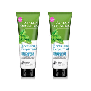 Avalon Organics Revitalizing Peppermint Moisturizing Cream Shave, 8 fl. oz. (Pack of 2)