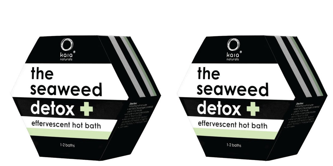 Kaia Naturals Seaweed Detox Hot Bath (Pack of 2) with Canadian Bladderwack Seaweed, Lavender Oil, Sodium Bicarbonate, Apple Vinegar, Camphor and Peppermint Oil, 1~2 baths per unit
