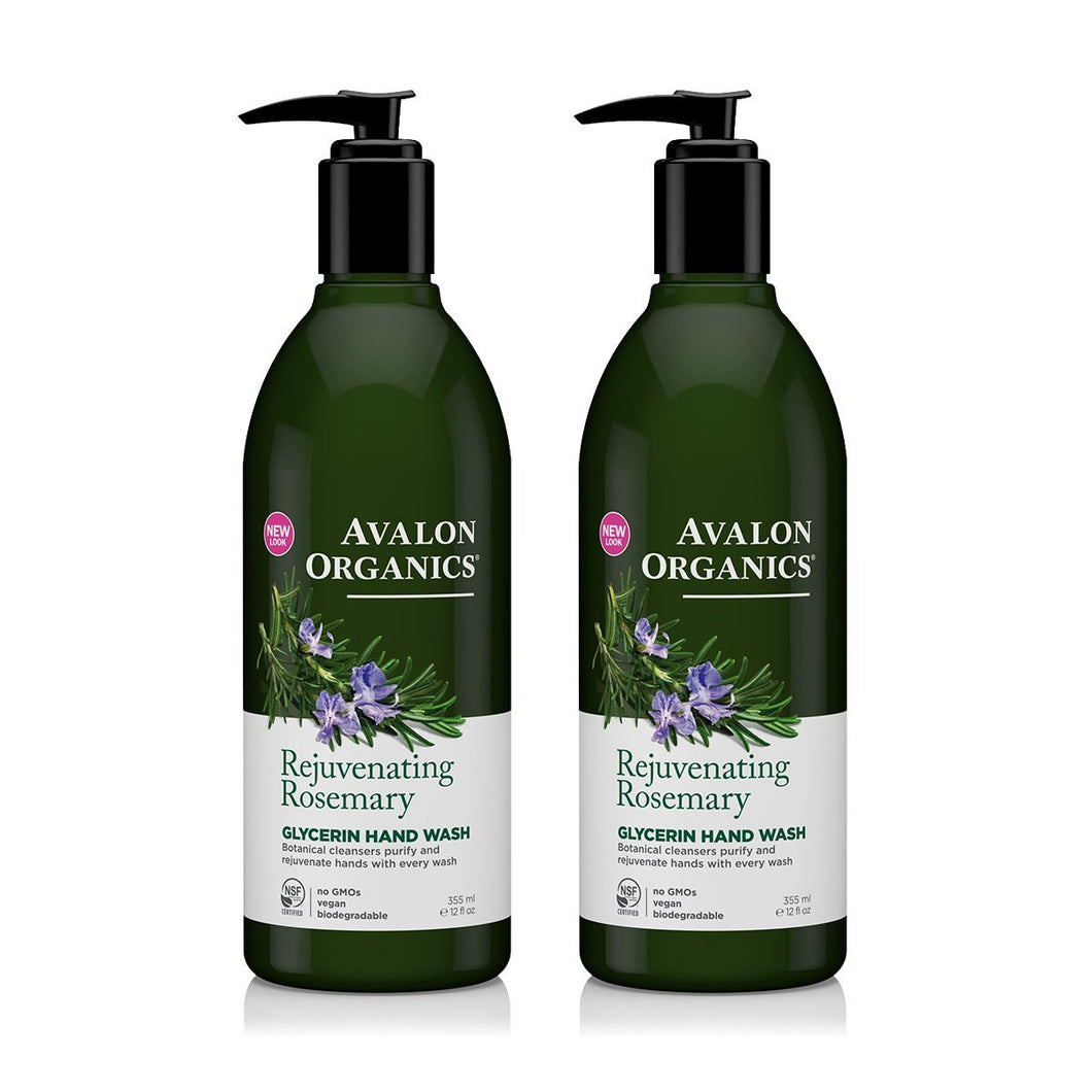 Avalon Organics Rejuvenating Rosemary Glycerin Hand Soap, 12 fl. oz. (Pack of 2)