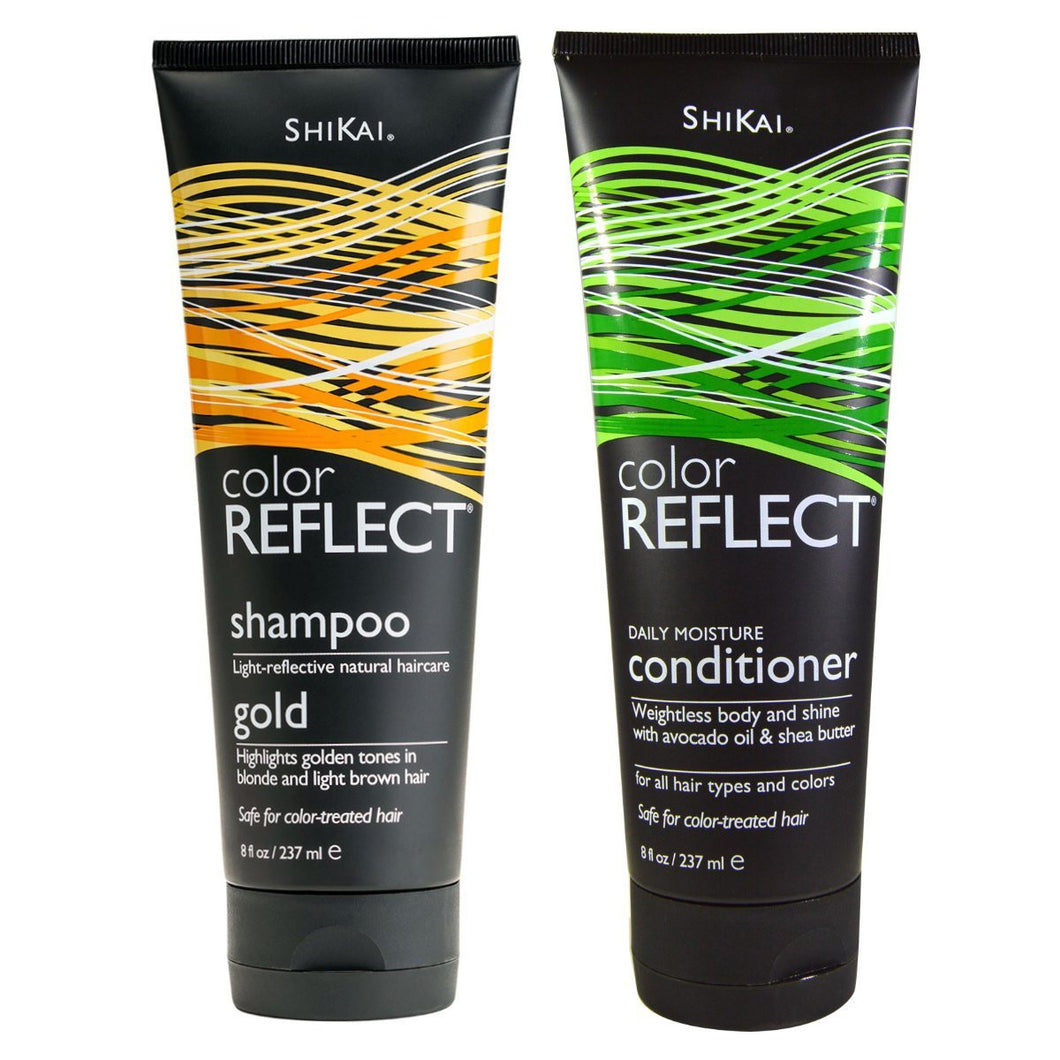 Shikai Color Reflect Gold Shampoo and Daily Moisture Conditioner Bundle, 8 fl. oz. each