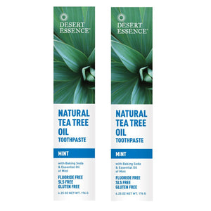 Desert Essence Natural Tea Tree Oil Mint Toothpaste, 6.25 fl. oz. (Pack of 2)