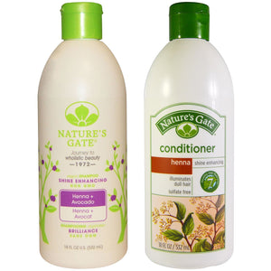 Nature's Gate Henna + Avocado Shine Enhancing Shampoo & Conditioner Bundle, 18 fl. oz. each