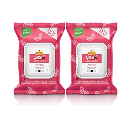 Yes to Grapefruit Wipes with Grapefruit Extract, 25 count (Pack of 2)