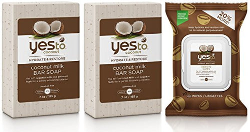 Yes to Coconut Milk Bar Soap (Pack of 2) and Cleansing Wipes Bundle with Coconut Oil, Shea Butter, and Banana Fruit Extract, 7 oz. and 30 wipe pack
