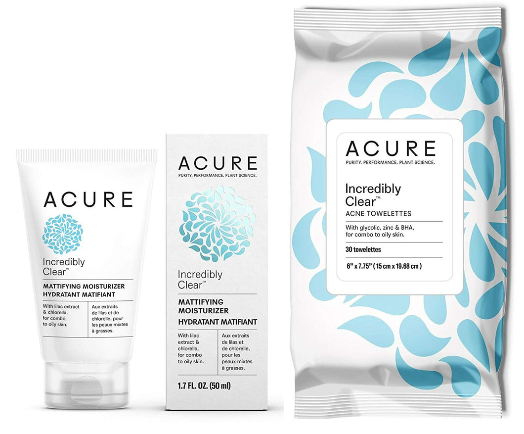 Acure Incredibly Clear Mattifying Moisturizer and Incredibly Clear Acne Towelettes Bundle