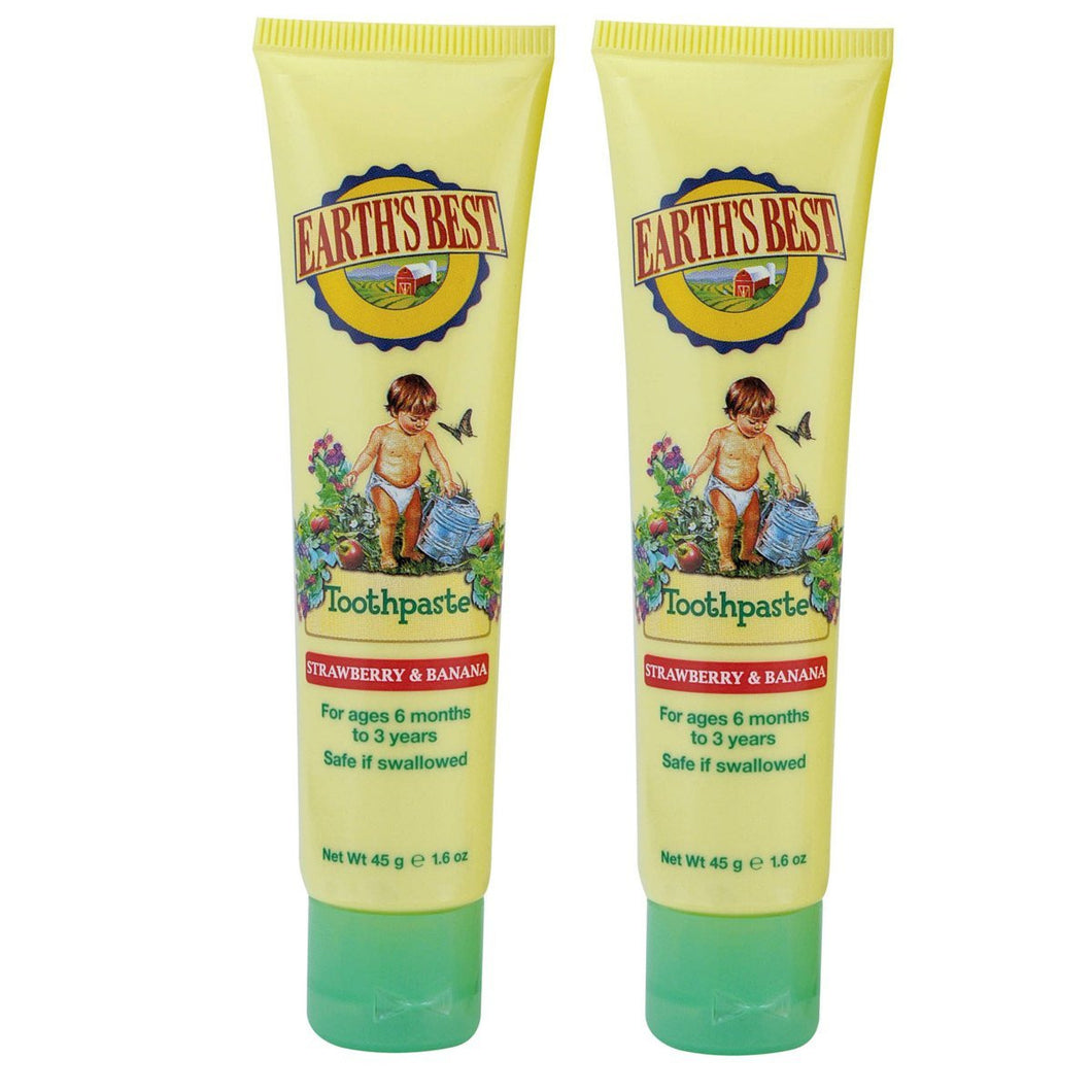 Earth's Best Strawberry & Banana Toddler Toothpaste, 1.6 fl. oz. (Pack of 2)