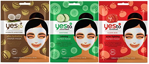 Yes to Inc. 3 Mask Bundle: Ultra Hydrating Coconut, Calming Cucumber + Acne Fighting Tomato (One Each)