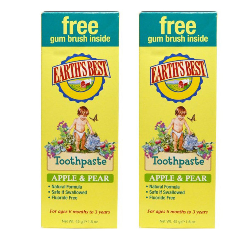 Earth's Best Apple & Pear Baby Toothpaste, 1.6 oz. (Pack of 2)