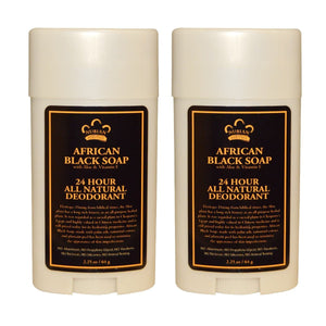 Nubian Heritage African Black Soap 24 Hour All Natural Deodorant, 2.25 oz. (Pack of 2)