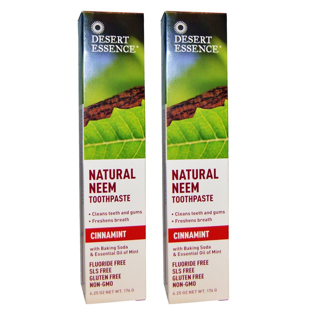Desert Essence Natural Neem Cinnamint Toothpaste, 6.25 fl. oz. (Pack of 2)