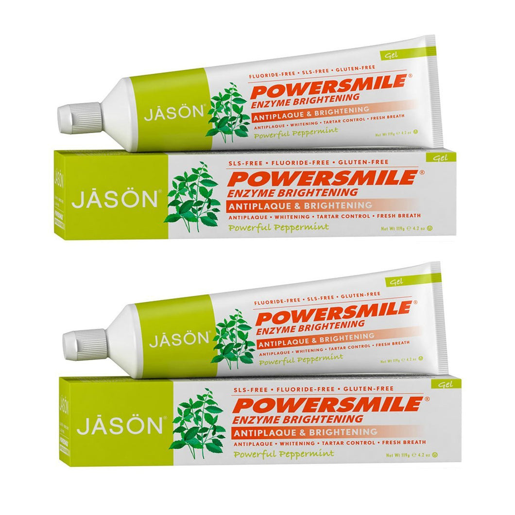 Jason Powerful Peppermint Enzyme Brightening Toothpaste, 4.2 fl. oz. (Pack of 2)