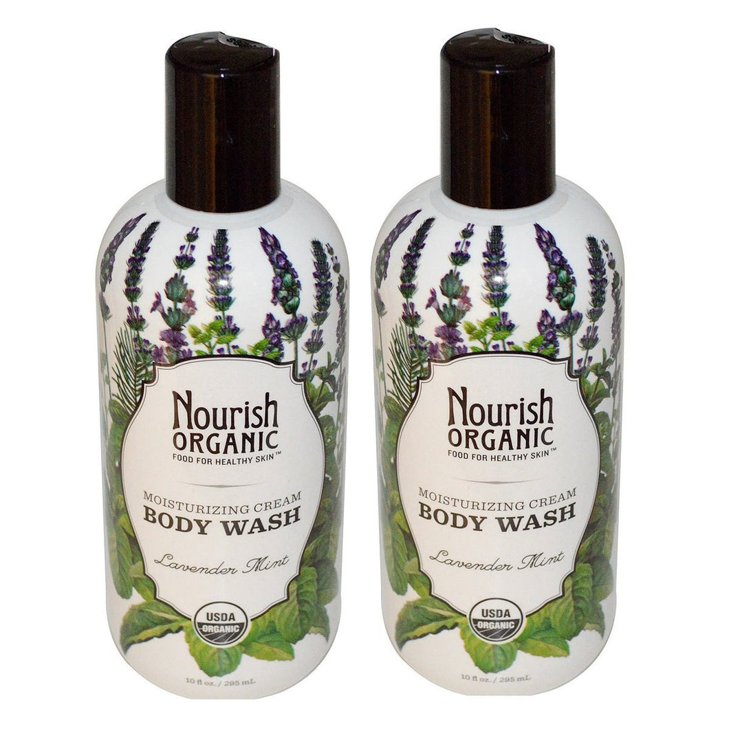 Nourish Organic Lavender Mint Body Wash, 10 fl. oz. (Pack of 2)