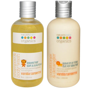 Nature's Baby Vanilla Tangerine Shampoo & Body Wash and Conditioner & Detangler Bundle, 8 fl. oz. each