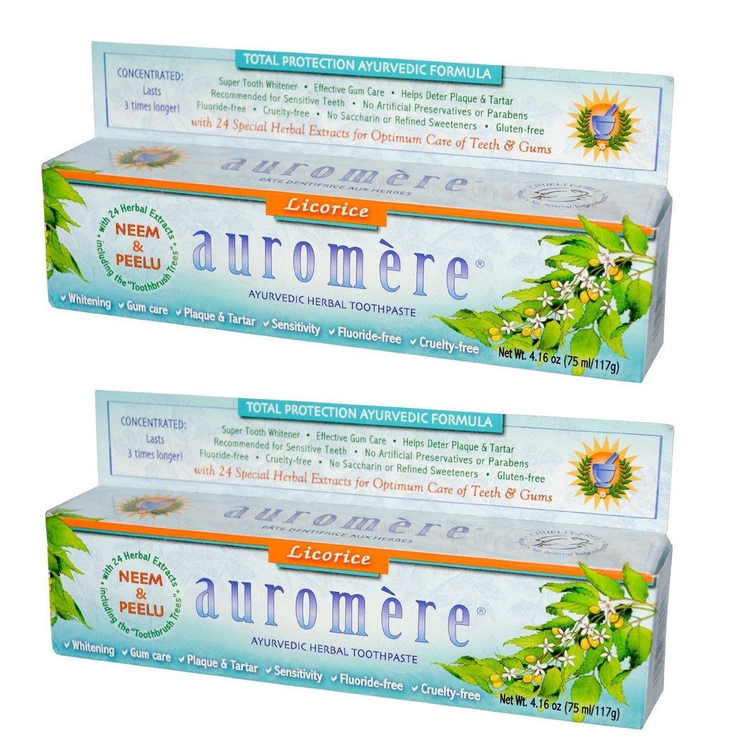 Auromere Licorice Ayurvedic Herbal Toothpaste, 4.16 oz (Pack of 2)