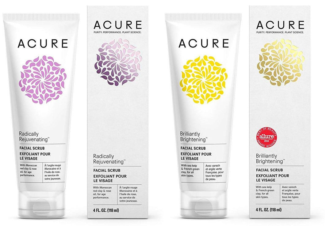 Acure Pore Clarifying & Brightening Facial Scrub and Exfoliator Bundle