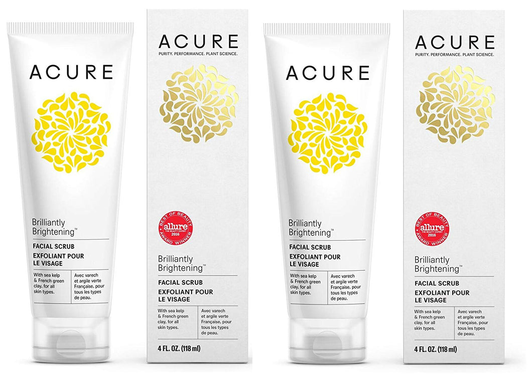 Acure Organics Kelp Brightening Facial Scrub and Cell Stimulating Facial Mask Bundle