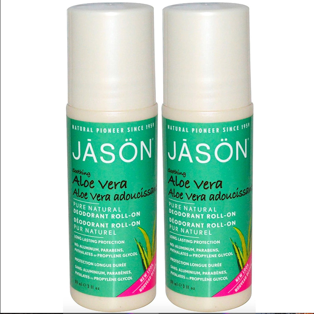 Jason Pure Natural Aloe Vera Roll On Deodorant, 3 fl. oz. (Pack of 2)