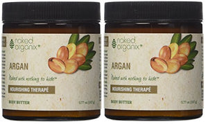 Naked Organix Organic Argan Body Butter (Pack of 2) With Shea Butter, Coconut Oil, Beeswax and Vitamin E, 3.77 fl oz Each