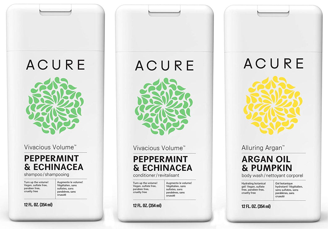 ACURE Vivacious Volume Shampoo & Conditioner and Alluring Argan Body Wash Bundle