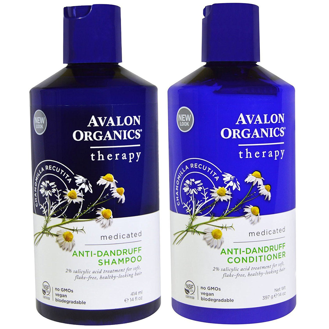 Avalon Organics Anti-Dandruff Shampoo and Conditioner Bundle, 14 fl. oz. each