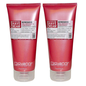 Giovanni Refreshing Pink Grapefruit & Pomegranate Moisturizing Shave Cream, 7 fl. oz. (Pack of 2)