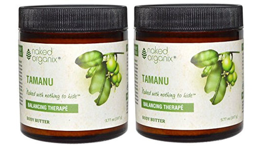 Naked Organix Tamanu Body Butter (Pack of 2) With Shea Butter, Coconut Oil, Beeswax and Vitamin E, 3.77 fl oz Each