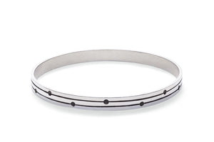 Sterling Silver Bangle - Double Line with Alternating Dots